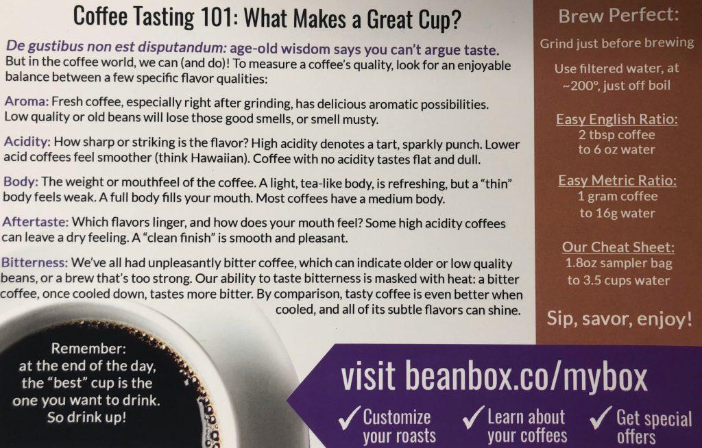 Bean Box Review - Coffee Tasting Sheet
