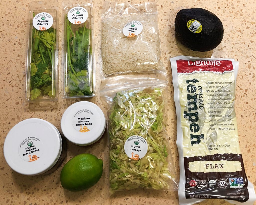 Sun Basket Reviews - Tempeh Burrito Bowls Ingredients