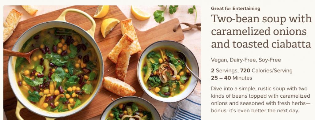 Sun Basket Review - Two-Bean Soup