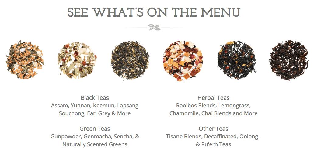 Simple Loose Leaf Tea Review Menu